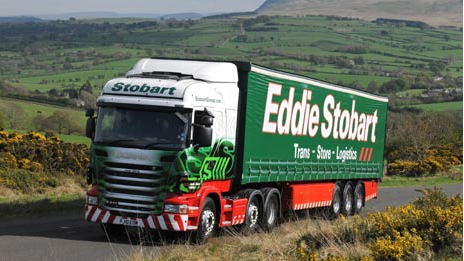 An Eddie Stobart truck, in its distinctive red & green livery